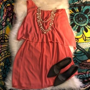 Everly One Shoulder Coral MIni Dress, Sz. M